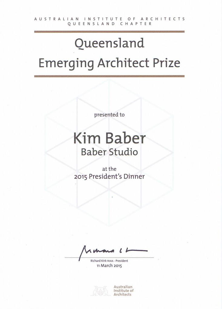 Baber_Emerging Architects Prize QLD
