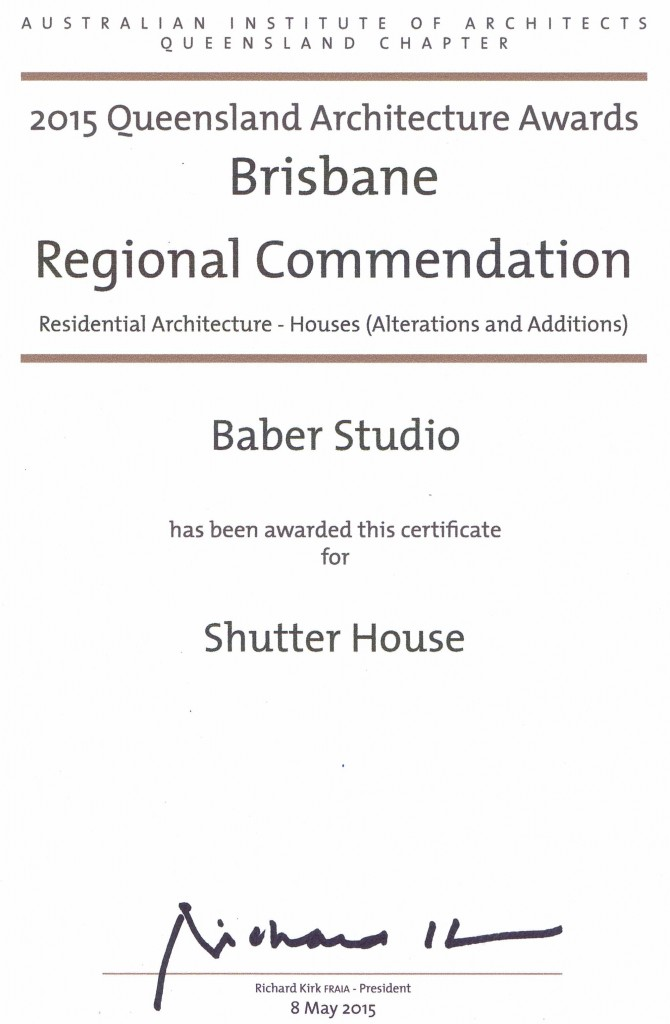 RAIA_Shutter House Regional Commendation